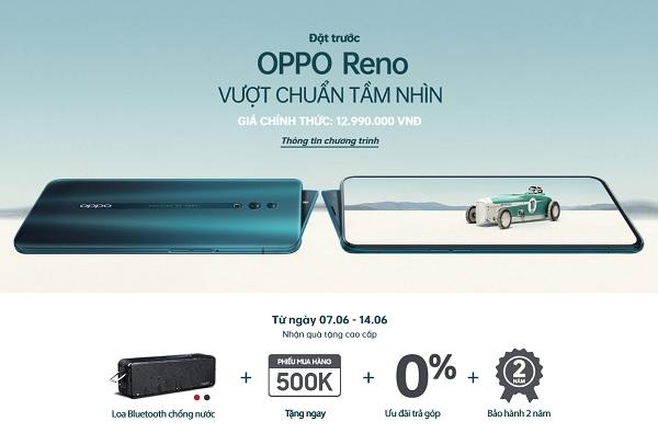 Đặt trước OPPO Reno trả góp 0%, quà tặng loa Bluetooth chống nước