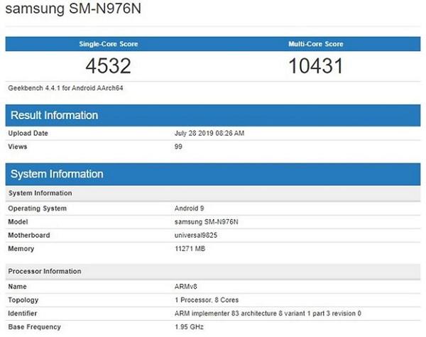 GalaxyNote 10+ 5G trang bị con chip Exynos 9825 lộ điểm hiệu năng