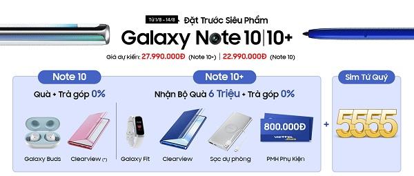 Đặt trước Galaxy Note 10 | Note 10+ nhận bộ quà siêu to, khổng lồ cùng cơ hội trúng sim tứ quý 5555
