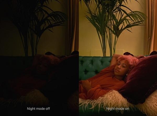 Ảnh chụp sử dụng chế độ tự động (bên trái) và chụp bằng chế độ ban đêm ( bên phải)