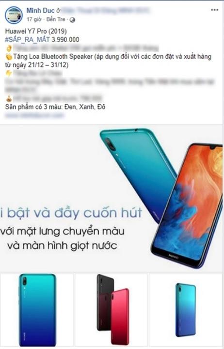 Lộ giá bán Huawei Y7 Pro 2019 là 3.990.000đ