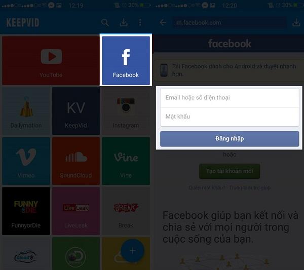 Bạn có thể download các video trên Facebook thông qua ứng dụng Keepvid