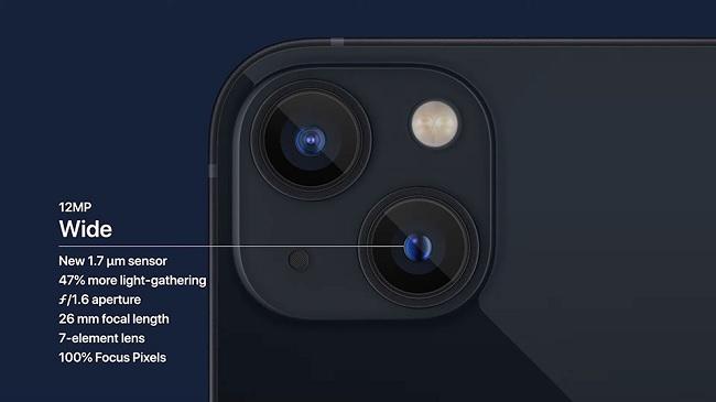 Camera sau trên iPhone 13